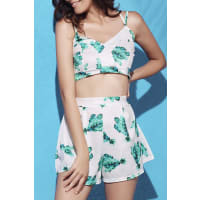 ZafulPrinted Crop Top and Pleated Shorts Suit