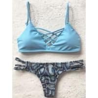 ZafulPrinted Spaghetti Straps Bikini Set
