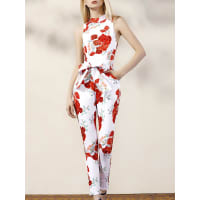 ZafulFloral Turtle Neck Sleeveless Jumpsuit