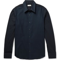 Dries Van NotenSlim-fit Mesh And Cotton-poplin Shirt - Navy