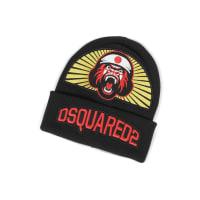 Dsquared2Gorilla Patch Signature Black Wool Knit Hat