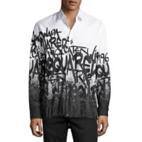 Dsquared2Graffiti-Print Button-Down Shirt, White/Black