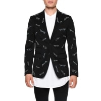 Dsquared2Skateboard-Print Two-Button Blazer, Black