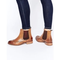 Dune LondonQuenton Tan Leather Brogue Chelsea Boots - Brown