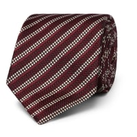 Dunhill8cm Striped Woven Mulberry Silk Tie - Red