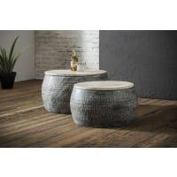 DuvergerSet 2 salontafels rond staal met gepatineerd massief mango blad 50cm en 60cm