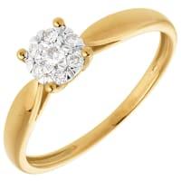 EdenlyZarter Ring in Gelbgold Diamantsphäre - 7 Diamanten