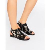 EeightIsabel Gold Eyelet Flat Sandals - Black