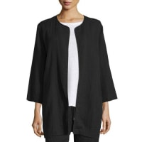 Eileen Fisher3/4-Sleeve Open-Front Organic Cotton Jacket, Black