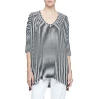 Eileen FisherDolman-Sleeve Striped Linen Tunic, Black/White, Plus Size