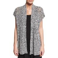 Eileen FisherShort-Sleeve Melange Linen Grain Twist Cardigan, Black, Petite