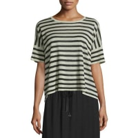 Eileen FisherShort-Sleeve Striped Linen-Blend Top, Natural/Black, Petite