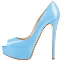 ElenxsZapatos De Charol De Plataforma Con Estilo De Peep-toe De Tacón Alto Para Mujeres Azul