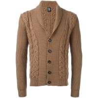 Eleventyshawl lape cardigan, Mens, Size: XL, Brown, Virgin Wool