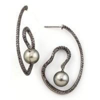 Eli JewelsGray Pearl & Black Diamond Spiral Earrings