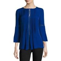 Elie TahariOrion 3/4-Sleeve Pintucked Silk Blouse, Bluette