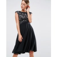 Elise RyanMidi Skater Dress With Scallop Lace Bodice - Black