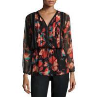 Ella MossFiore Long-Sleeve Floral-Print Blouse, Black
