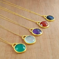 Embers JewelleryBirthstone Gold Mixed Gemstone Dome Necklace