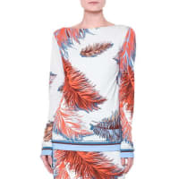 Emilio PucciMaryln Long-Sleeve Feather-Print Top, Blue/Multi