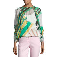 Emilio PucciPrinted Long-Sleeve Silk Blouse, White/Green