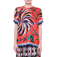 Emilio PucciShort-Sleeve Cactus-Print Blouse, Orange