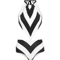 Emma PakeStella Cutout Striped Swimsuit - Black