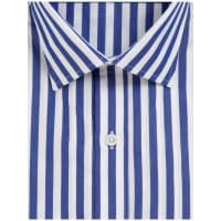 Emma WillisNavy Butcher Stripe Swiss Cotton Shirt