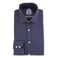 English LaundryChecked Long-Sleeve Dress Shirt, Navy
