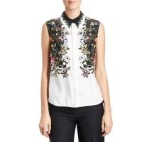 ErdemSleeveless Floral Silk Blouse, White/Black