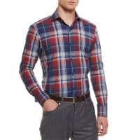 Ermenegildo ZegnaExtra-Large Plaid Sport Shirt, Red
