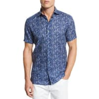Ermenegildo ZegnaFloral Short-Sleeve Sport Shirt, Dark Blue