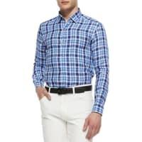 Ermenegildo ZegnaMedium-Check Linen Sport Shirt, Blue