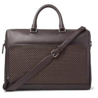 Ermenegildo ZegnaPelle Tessuta Leather Briefcase - Dark brown