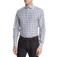 Ermenegildo ZegnaPlaid Long-Sleeve Sport Shirt, Beige