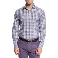 Ermenegildo ZegnaPlaid Long-Sleeve Sport Shirt, Purple