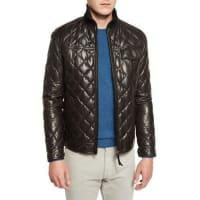 Ermenegildo ZegnaQuilted Leather Down Jacket, Chocolate
