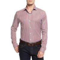 Ermenegildo ZegnaTrack-Stripe Long-Sleeve Sport Shirt, Red
