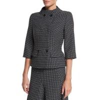 EscadaDouble-Breasted Dot-Print Jacket, Black