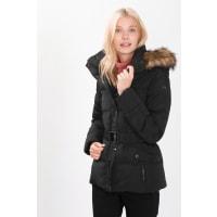 EspritBasic donzen jas met ceintuur Black for Women