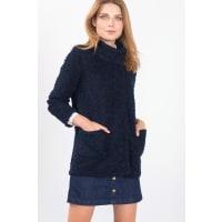EspritBouclé jas met hoge kraag, wolmix Navy for Women