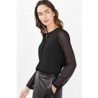 EspritCrinkled Chiffon Bluse mit Glanzakzenten für Damen Black