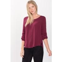 EspritFließende Basic-Bluse mit Rundhals für Damen Bordeaux Red