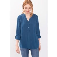 EspritFließende Bluse im Henley-Stil für Damen Petrol Blue