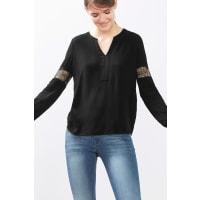 EspritFließende Crêpe-Bluse mit Spitze für Damen Black