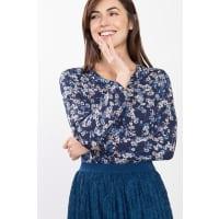 EspritFließende Print-Bluse mit Wasserfallkragen für Damen Navy