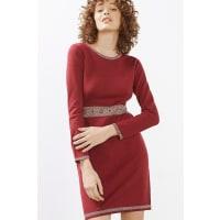 EspritFijngebreide jacquard jurk Bordeaux Red for Women