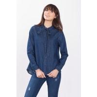 EspritJeans-Bluse mit verspielter Schluppe für Damen Blue Rinse