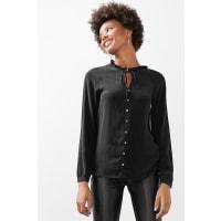 EspritSeidenbluse mit Rüschen-Kragen für Damen Black
