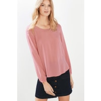 EspritFließende Basic-Bluse mit Rundhals für Damen Pink